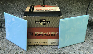 NOS! Mid Century Homart Marbleized Horizon Blue 40 Plastic Tiles 5 Sq Ft IN BOX