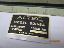 "ALTEC 808-8A Driver Vintage Horn Loudspeaker Driver  ""DECAL"" New!"