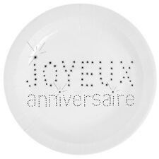 Assiette Anniversaire Blanc x10