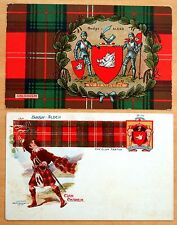Clan Chisholm 2 Antique Postcards Scottish Clan Tartan Coat of Arms c.1906