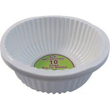10 X WHITE PLASTIC DISPOSABLE SERVING PLATTER BOWLS 35oz 18cm LARGE TABLEWARE