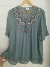 Women's Knox Rose 100% Rayon Pale Teal Embroidered Pleated Loose Fit Blouse  XXL