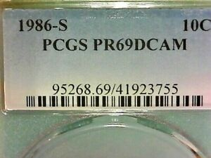 UNITED STATES-P.C.G.S.1986-S PR69DCAM  ROOSEVELT ENCAPSULATED CLAD  DIME