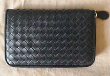 Bottega Veneta Black Leather Intrecciato Zip-Around Wallet Made in Italy