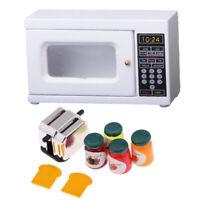 Dollhouse Miniature Kitchen Furniture Modern Microwave & Bread Set for 1/12