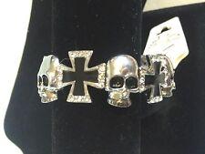 Halloween Skull & Cross Silver & Black W/ Crystals Stretch Bracelet NEW