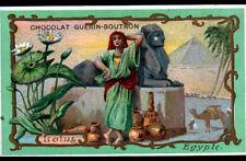 IMAGE CHOCOLAT GUERIN BOUTRON / EGYPTE / MARCHAND de POTERIE & FLEUR LOTUS