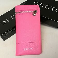 New OROTON Women Bueno Soft Fold Wallet Purse Leather Watermelon Pink Box