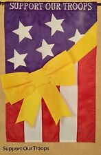 Support Our Troops Yellow Ribbon American Usa Military Applique Large Yard Flag