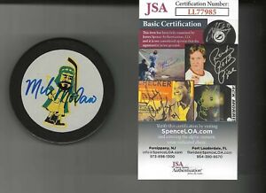 Mike Modano Signed Vintage Prince Albert Raiders Official Game Puck JSA COA