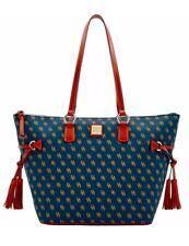 DOONEY & BOURKE LEISURE GRETTA Blue Leather Canvas Shopper Tote Bag Purse