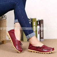 Womens Hollow Out Carving Casual Leather Driving Moccasin Flat Loafers Shoes