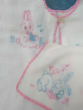 VINTAGE 40s baby DOLL clothes JACKET cotton flannel HAND embroidery BUNNY rabbit