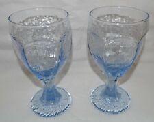 Vintage Light Blue Stemmed Drinking Glasses, set of 2