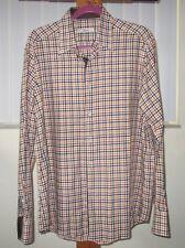Ingram Mens Shirt Plaid Orange/Brown Cotton Flip Cuff Long Sleeve Size 16-1/2 42