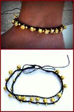 Fußkette  Glöckchen schwarz  Damen Fußbändchen Hippie Boho Schmuck  Gold NEU
