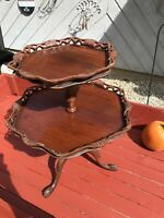 Antique Mahogany Carved Two Tier Dumbwaiter Pie Crust Accent Table Beautiful !!