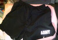 Army PT Shorts PFU Medium Physical Fitness Training Black US Lined