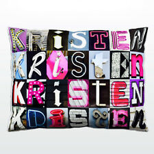 Personalized Pillow featuring the name KRISTEN in photos of sign letters