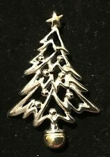 Holiday Christmas Tree Pendant - Silver & Gold Metal