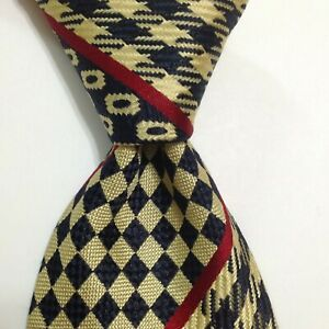 LE SETE DI OTTONUCCI Men's Silk Necktie ITALY Designer Geometric Blue/Yellow EUC