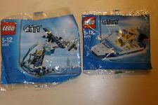 2x LEGO City Pack POLIZIA helecopter & POLICE BOAT + Minifigure 30017 & 30222