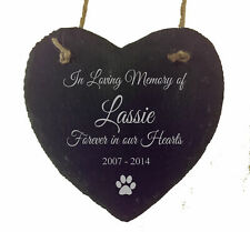 Personalised Slate Hanging Heart Bereavement Remembrance Dog Cat Pet Plaque