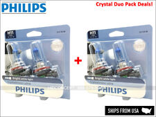 CRYSTAL DUO PACK DEAL! H11 PHILIPS CRYSTAL VISION 12362CVB2 Four Halogen Bulbs