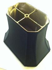 "14"" Oblong BLACK GOLD LINING Lampshade Rectangular Cut-Corner  Shantung"