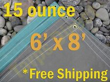 6 ft x 8 ft Green Canvas Cotton 15 oz Water Resistant Tarp Treated Breathable