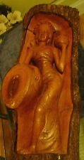 Vintage Polynesian Princess Carving Nice Detailed Art In Bark
