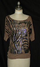 M' FASIS By CALIFORNIA BLUE  SCOOP NECK TOP,  GRAY  ANIMAL PRINT  size L