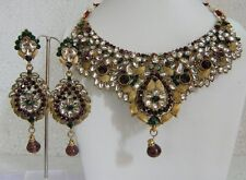 INDIAN BRIDAL PURPLE AND GREEN  STONE KUNDAN  NECKLACE SET