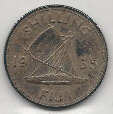 FIJI,   1935,  SHILLING,  SILVER,  KM#4,  ALMOST UNCIRCULATED
