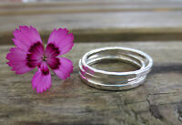 Set of Three Sterling Silver 1.5mm Hammered Stacking Rings