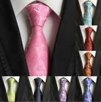 Tie Silk 100% New Necktie Wedding Floral Paisley JACQUARD WOVEN Fashion Men's UK