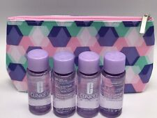 4 Clinique Take The Day Off Makeup Remover  1.7oz/50ml ea & Zippered makeup bag