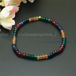 Faceted 2x4mm Multicolor Rondelle Gemstone Beads Elastic Bracelet 7.5''