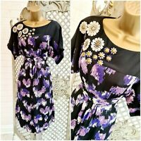 Monsoon UK 10 50's Style Purple Print Flower Detail Blenheim Shift Dress