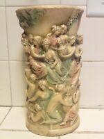 "Vintage Midcentury Chalkware Bacchus Greek Women  Flower Base 11"" Tall"