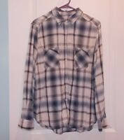 Mossimo Women's Size M Long Sleeve Blue And White Plaid Button Front Shirt