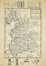 Lancashire  County Map by Herman Moll 1724 - Reproduction