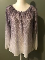 Sanctuary Womens Top Blouse Size S Gray White Ombre Pleated Keyhole Neck