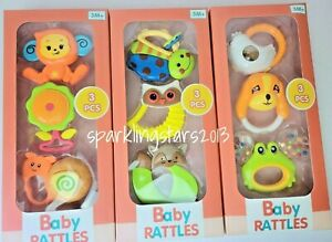 3pcs Baby Rattle Toy Set Infant Baby Toy Gift Set Easy Grip Activity Toys Gift