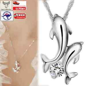 Beautiful Jewelry Double Dolphin Chain Pendant Necklace for Women [A1P~A1]