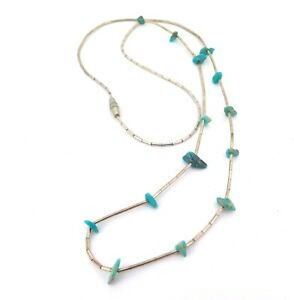 Beautiful Vintage Liquid Silver Bead & Turquoise Chip Bead Necklace 5g