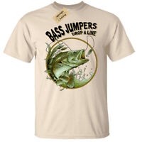 Bass Jumpers Drop A Line T-Shirt Mens fishing top fisherman anglers angling tee
