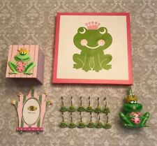 FROG PRINCESS BATHROOM DECOR PINK GREEN TISSUE SOAP SHOWER RINGS & MORE