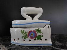 Fer à repasser céramique faïence Italie art nouveau déco vintage XXe PN France