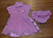 Guess Baby Short Sleeve Velour Dress w/Diaper Cover Size18 Months Lace Accent